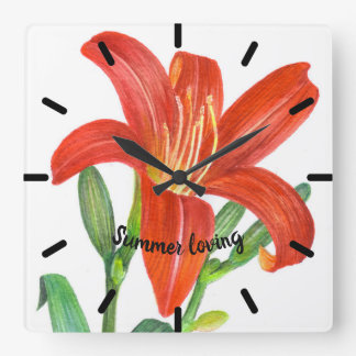 Watercolor Orange Lily Botanical Illustration Square Wall Clock