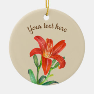 Watercolor Orange Lily Floral Art Ceramic Ornament