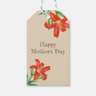 Watercolor Orange Lily Floral Art Mother's Day Gift Tags