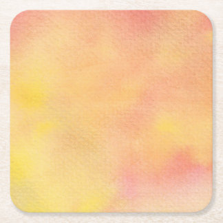 Watercolor Orange Pinks  - All Options Square Paper Coaster