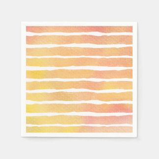 Watercolor Orange Pinks Striped - All Options Paper Napkin