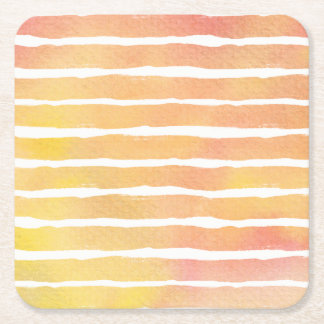 Watercolor Orange Pinks Striped - All Options Square Paper Coaster