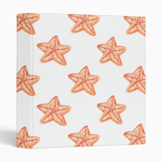 watercolor orange starfish beach design binders