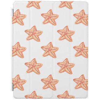 watercolor orange starfish beach design iPad cover