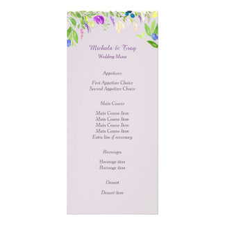Watercolor Orchid Floral Wedding Menu Rack Card Template