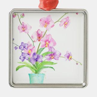 Watercolor Orchid in Pot Metal Ornament