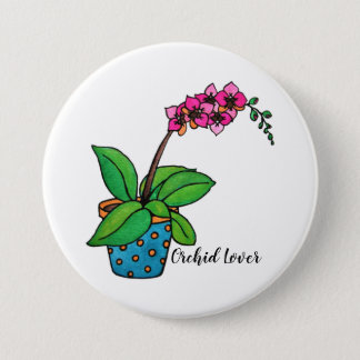 Watercolor Orchid Plant In Beautiful Pot 3 Inch Round Button