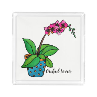 Watercolor Orchid Plant In Beautiful Pot Acrylic Tray