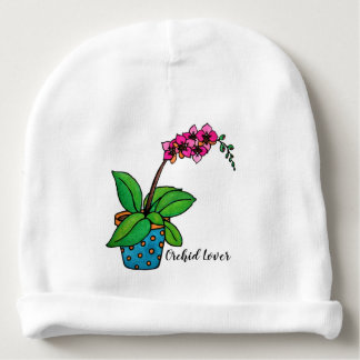 Watercolor Orchid Plant In Beautiful Pot Baby Beanie
