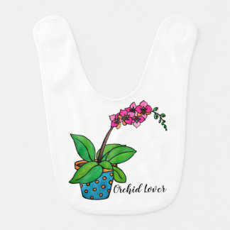 Watercolor Orchid Plant In Beautiful Pot Bib
