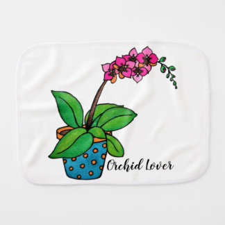 Watercolor Orchid Plant In Beautiful Pot Burp Cloth