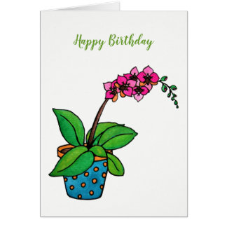 Watercolor Orchid Plant In Beautiful Pot Card
