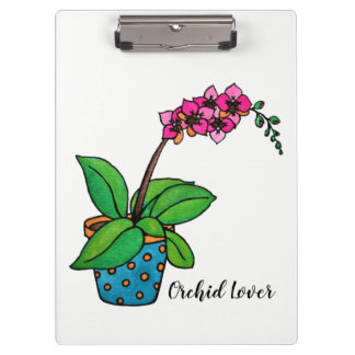 Watercolor Orchid Plant In Beautiful Pot Clipboard