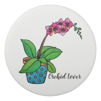 Watercolor Orchid Plant In Beautiful Pot Eraser