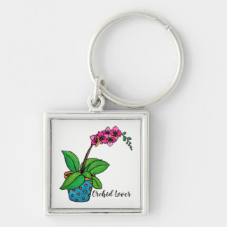Watercolor Orchid Plant In Beautiful Pot Keychain
