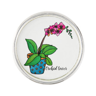 Watercolor Orchid Plant In Beautiful Pot Lapel Pin