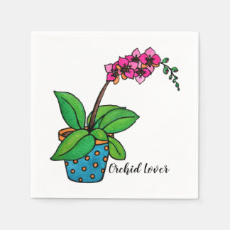 Watercolor Orchid Plant In Beautiful Pot Paper Napkin