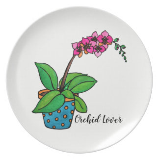 Watercolor Orchid Plant In Beautiful Pot Plate