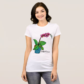 Watercolor Orchid Plant In Beautiful Pot T-Shirt
