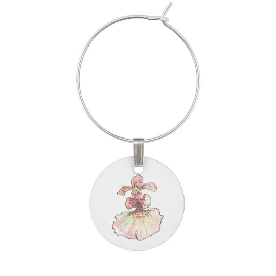 Watercolor Orchids Four Wine Charms