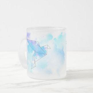 Watercolor origami birds mug
