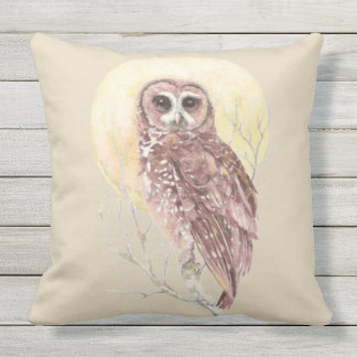 Watercolor Owl and the Moon Wildlife Bird art Throw Pillow