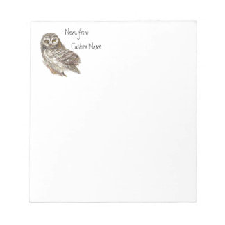 Watercolor Owl, Custom Name Bird, Nature Notepad