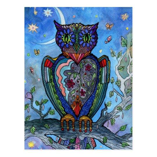 Watercolor Owl fantasy illustration. Fairytale Postcard