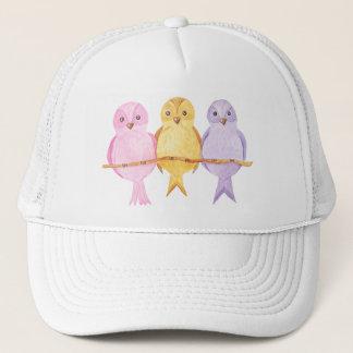 watercolor owls trio trucker hat