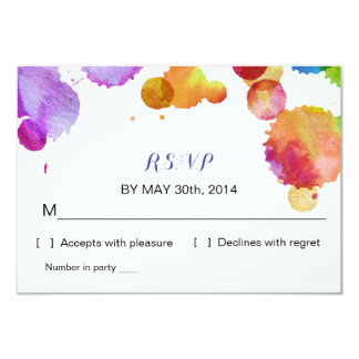 Watercolor paint splat Wedding R S V P Reply Card