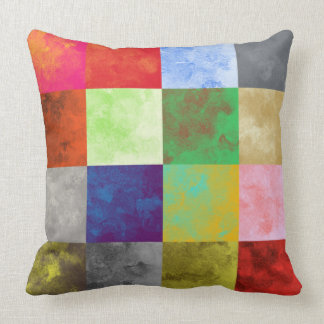 Watercolor Paint Squares Pattern Throw Pillow