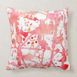Watercolor Paintbrush Spatter Pink Throw Pillow