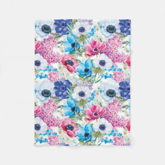 Watercolor Painted Anemone Flowers Fleece Blanket