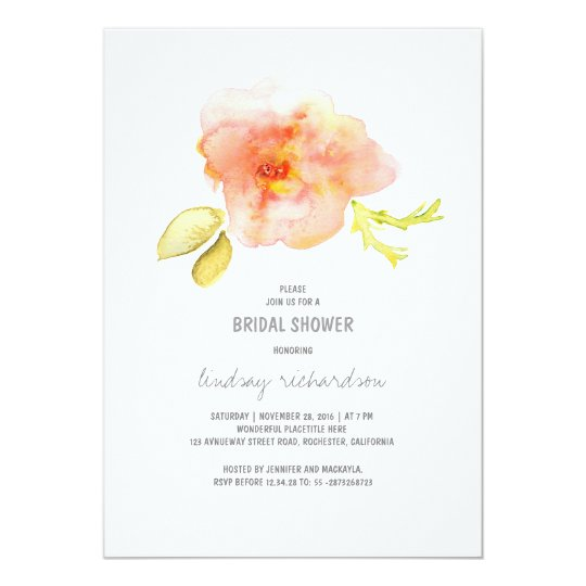 watercolor painted flower bridal shower invite