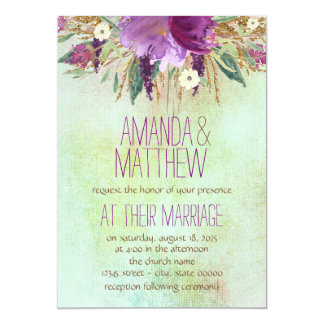 Watercolor Painted Flower Wedding Card