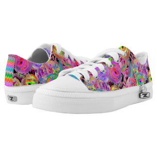 WATERCOLOR PAINTED FLOWERS FUCHSIA GREEN Low-Top SNEAKERS