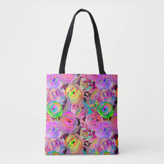 WATERCOLOR PAINTED FLOWERS ROSES CHEVRONS FUCHSIA TOTE BAG