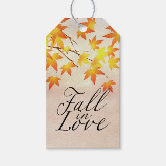 Watercolor Painted Orange Autumn Maple Leaves Pack Of Gift Tags