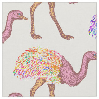 Watercolor Painted Ostrich Pattern Fabric