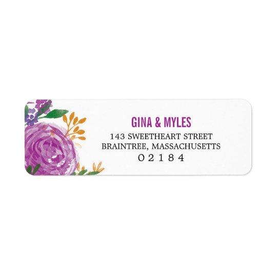 Watercolor Painted Purple Blooms | Return Address