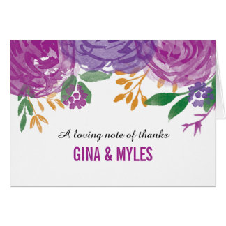 Watercolor Painted Purple Blooms | Thank You Card