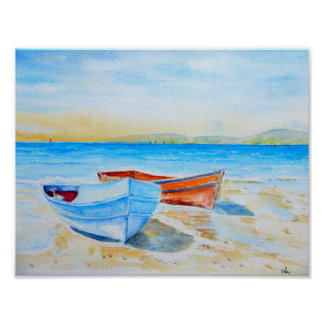 Watercolor Painting  Beach boats Poster