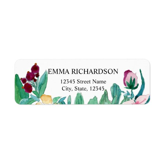 Watercolor Painting Flowers Return Address Label