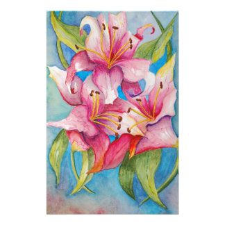 Watercolor Painting Group of Lilies Customized Stationery