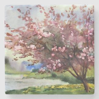 Watercolor Painting Landscape Stone Beverage Coaster