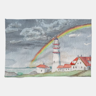 Watercolor Painting Lighthouse and Rainbow Kitchen Towel