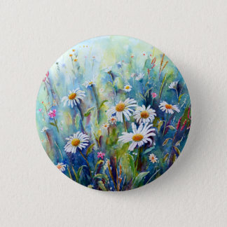 Watercolor painting of daisy field 2 inch round button