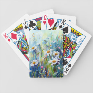 Watercolor painting of daisy field bicycle playing cards