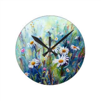 Watercolor painting of daisy field clocks