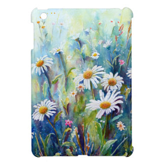 Watercolor painting of daisy field iPad mini covers